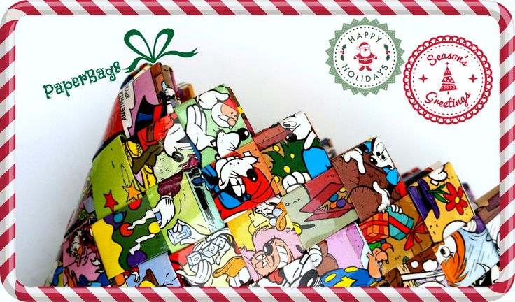 Handmade One-of-a-kind PaperBag Purse Xmas Edition with comic scenes