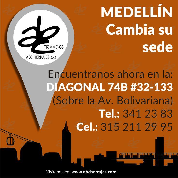 #ABCherrajes #Medellín cambia su sede. Encuéntranos ahora en la: Diagonal 74B # 32-133 / Sobre la AV. Bolivariana Tel.: (4)341 23 83 / Cel.: 315 211 29 95 www.abcherrajes.com