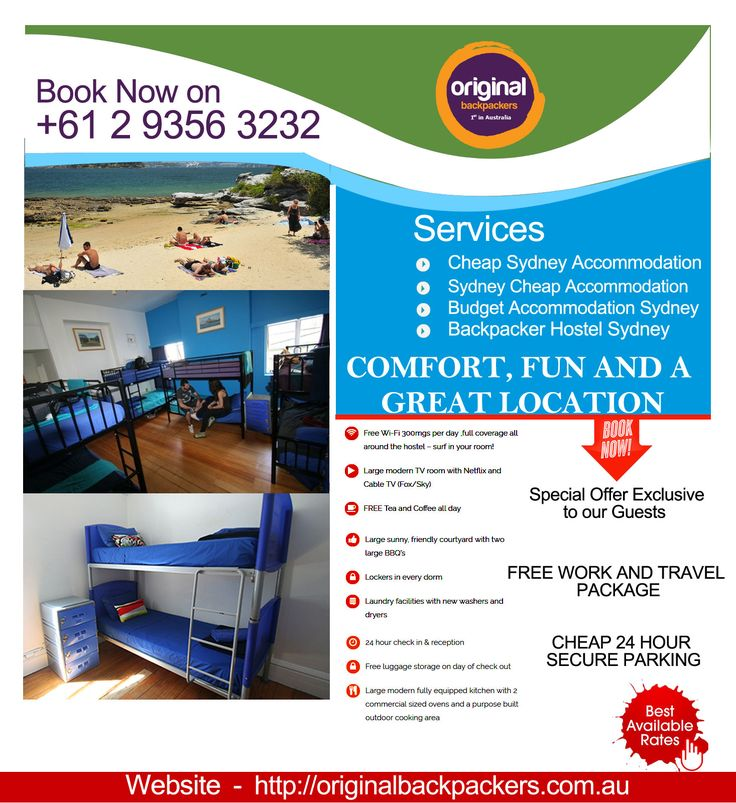 Cheap Budget Accommodation Sydney: Dream to discover and experience Sydney as the locals? Acquire a revolutionary way to fulfill your dream and stay at Original Backpackers to spice up your holidays. We offer comfortable, cheap budget accommodation shared & private accommodations and easy access to the best of local culture in a down to earth, community atmosphere. To know more about us visit at: https://goo.gl/cfZSWB