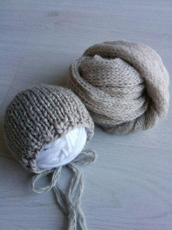 Newborn mohair wrap Knit brown bonnet by MoonlightLittleKnits