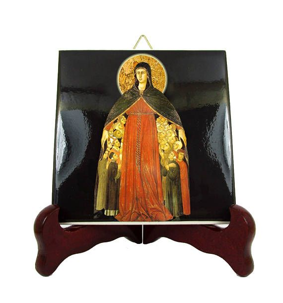 Our Lady of Mercy - New icon on ceramic tile available in my Etsy Store: >>> https://www.etsy.com/listing/540620671 <<<  The image was inspired by a wonderful painting by Simone Martini and Lippo Memmi (1308 - 1310). Two different sizes available. 100% handmade in Italy by @TerryTiles2014  #faith #pray #mercy #misericordia #virginmary #mothermary #religious #catholic #catholicism #etsyfinds #etsysellersofinstagram #avemaria