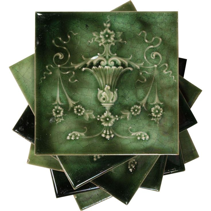 "Antique Tile with Floral Swags and Urns, 6"" x 6"" -- found at www.rubylane.com #vintagebeginshere"