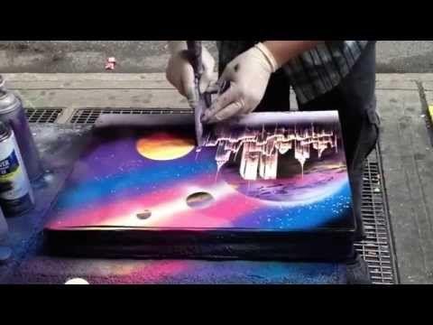 Уличный художник создает восхитительную картину за 6 минут. - YouTube
