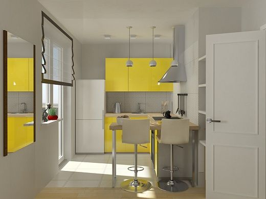 Кухня белоснежная с сочными желтыми акцентами в виде мебели (навесных и тумбовых шкафов). Стол для кухни, в целях практичности, был выбран раскладной. Стулья высокие барные. Рабочая кухонная поверхность идет углом. Над ней свисают три светодиодные люстры. Холодильник было решено поставить у окна. Облицовочная плитка на полу  и на потолке белая, но разной текстуры. Обилие света и белых цветов как на кухне, так и во всей квартире, заметно расширяет пространство.