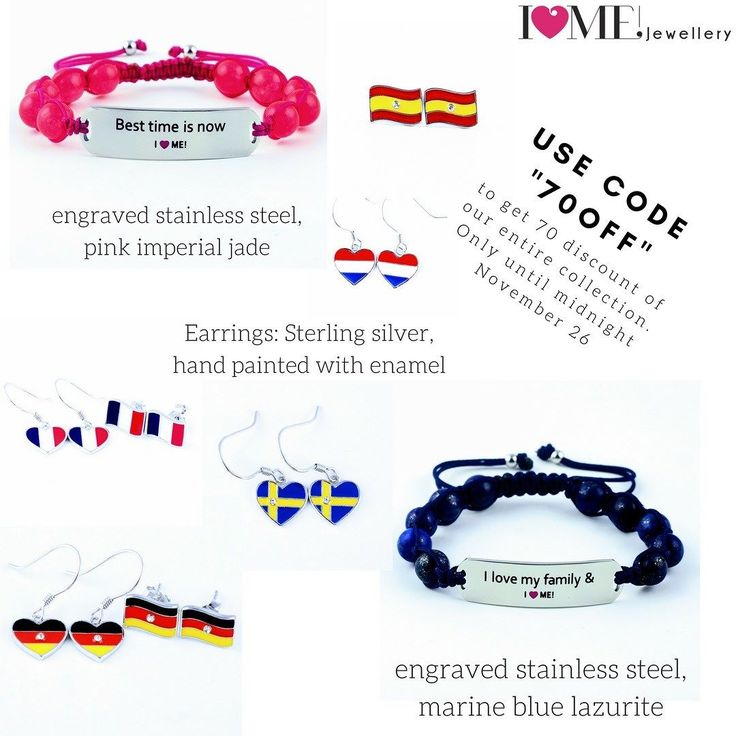"Only until tomorrow night: buy your adjustable motivational gemstone bracelet and national flags jewellery with 70% discount with the code ""70off"". The engraved stainless steel and gemstones will not have a scratch even if you train with them swim shower take care of your kids day and night. Say it with a bracelet. Enhance your will with our motivational gemstone bracelets that will be with you through thick and thin. Show your true colours with the national flags jewellery.  Make unique…"
