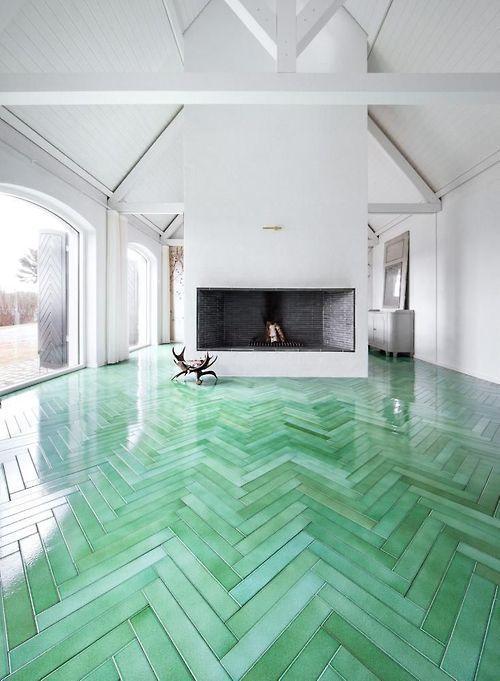 Green Herringbone Tile Floors House Pinterest