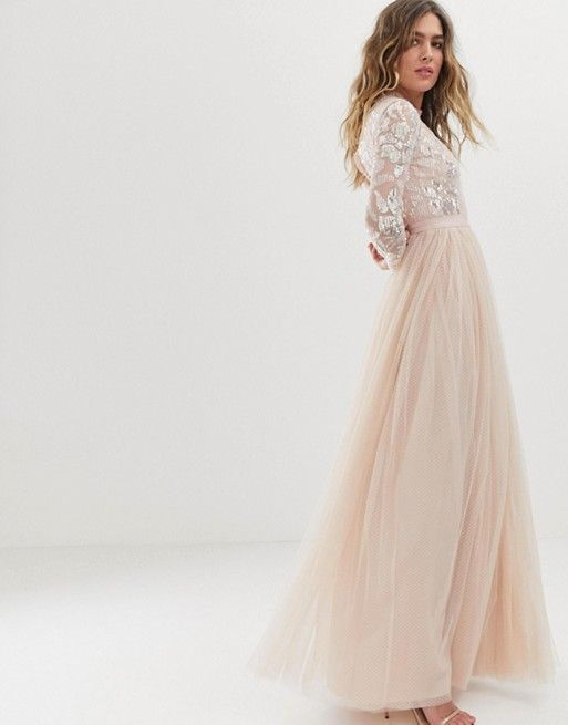 26e9674e6 Needle & Thread embellished long sleeve maxi dress with tulle skirt in rose  quartz | ASOS