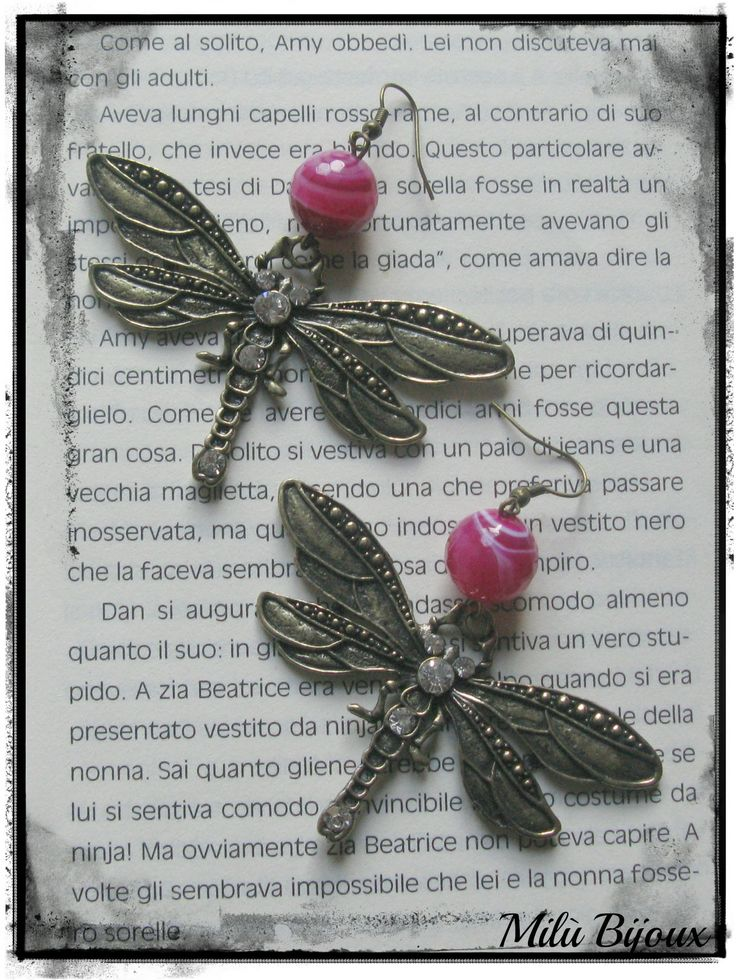 Dragonflies bronze with rhinestones and pink agate