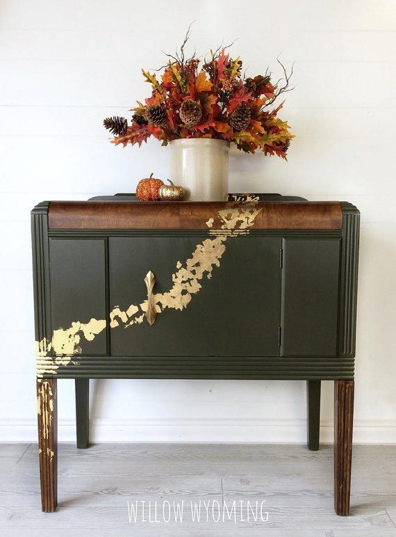 Vintage waterall server cabinet green gold leaf entryway table stained top #stainfurniture
