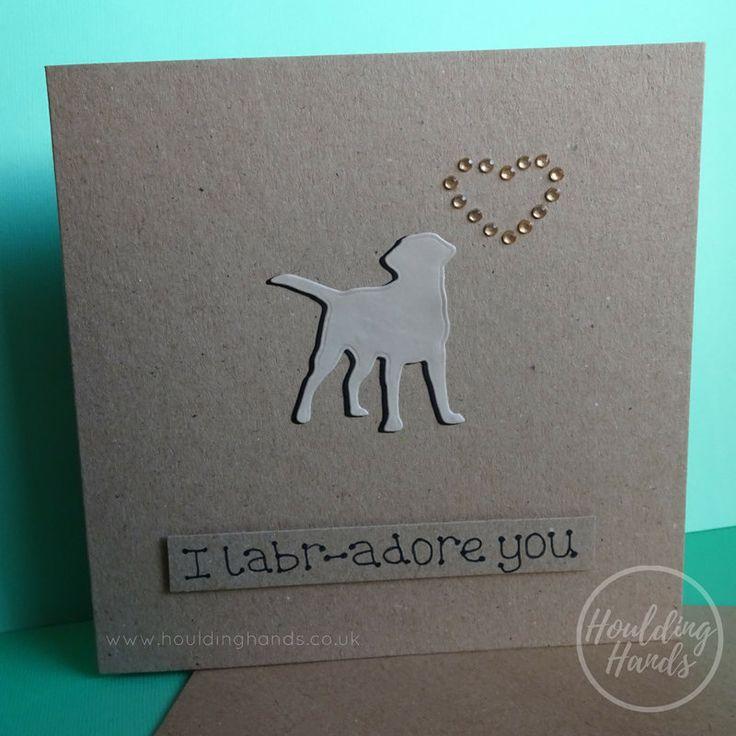 Unique handmade Golden Labrador dogs silhouette and heart of gold gems card.  The card has a the silhouette of a Golden Labrador standing happily with their tail in the air. The shadow of the dog is black and there are gold gems in the shape of a heart just above the dog. The sentiment is added with 3D foam and reads: I Labr-adore you  FRONT OF THE CARD: The card can be personalised with the name of the recipient or a specific sentiment such as: Happy Birthday, Happy Valentines Day or Happy…