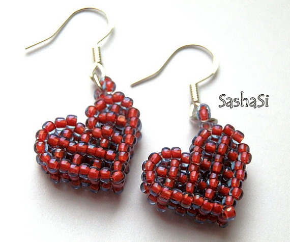Valentines Beaded Heart Earrings  Sterling Silver by SashaSi, $18.00