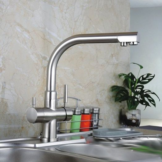 Three Way Kitchen Mixer Tap Pure Water Filter RO Taps Finished By Nickel Brush T3301S