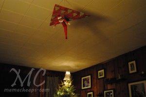 Hang gliding elf on the shelf  w 300x201 25 Elf on the Shelf QUICK & EASY Ideas that take Under 5 mins!