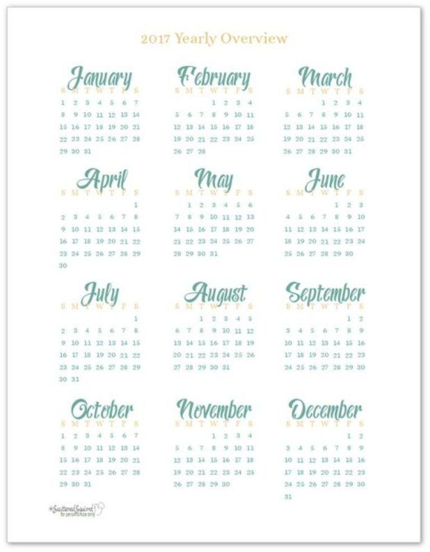 58 Stunning 2017 Printable Calendar Templates                                                                                                                                                     More