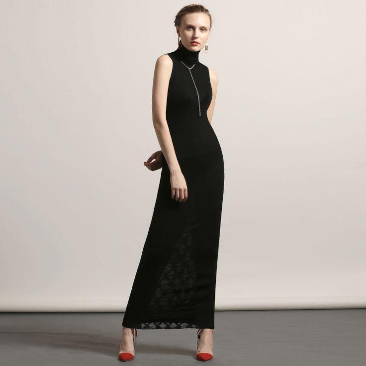 Long design sleeveless sweater dress elegant black turtleneck slim basic sweater female 2017 New Autumn winter full dress
