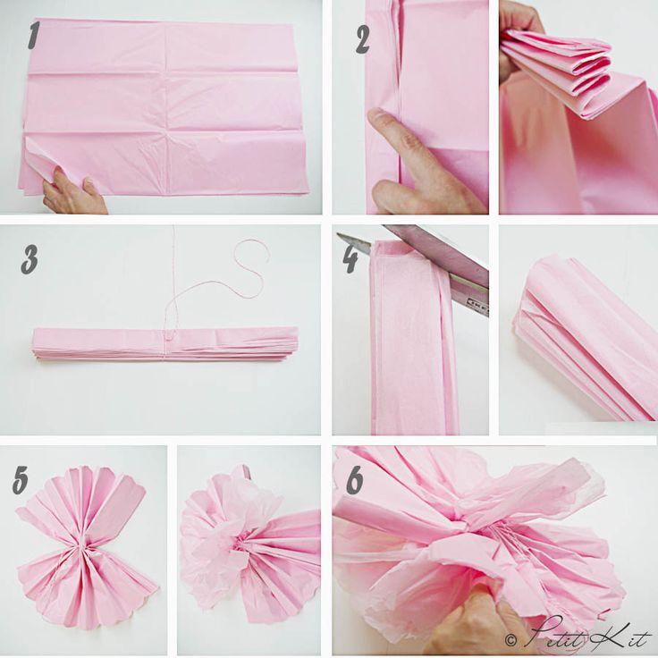como hacer pompones papel seda