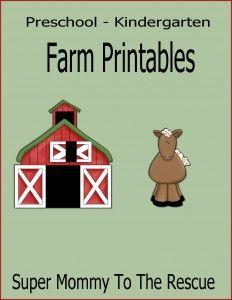 Free Preschool lesson Farm Printables