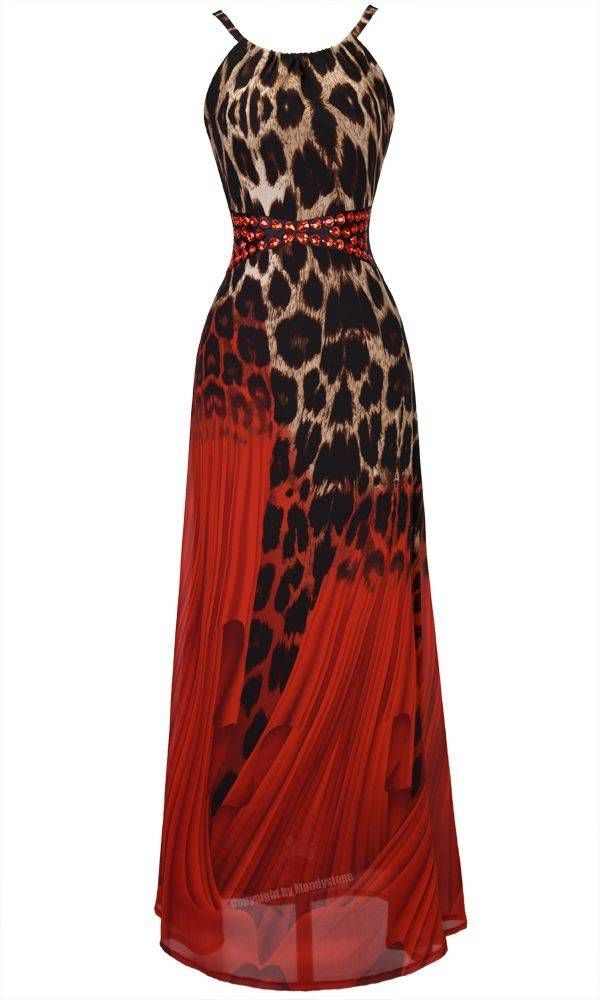 Animal Print Ball Gowns | ... Spaghetti Strap V-Back Empire-Waist Leopard Print Ball Gown XL Red