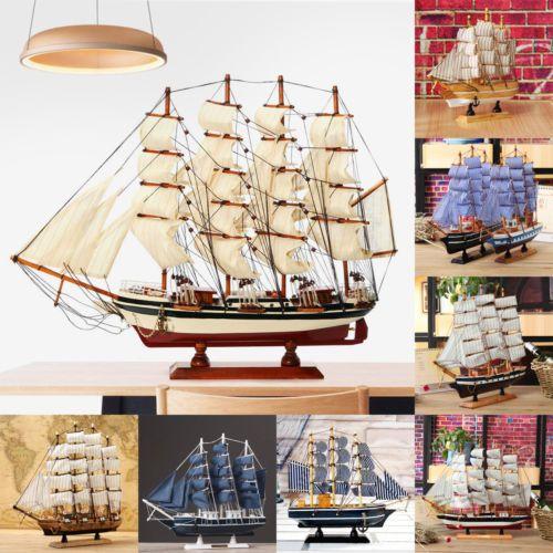 Wooden Sailor Ship Sailing Boat Wood Sailboat Model Home