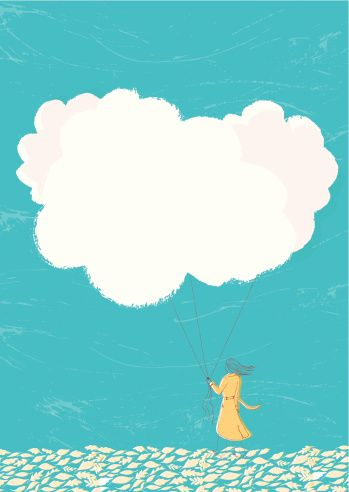 Vector Art : Woman holding cloud balloons on string