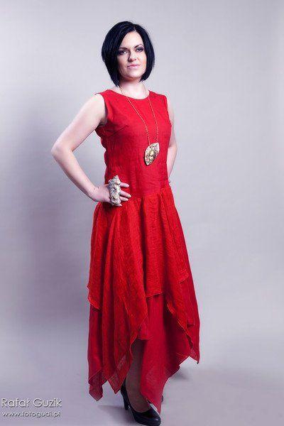 lniana czerwona sukienka - Estera-Grabarczyk - Sukienki ekologiczne
