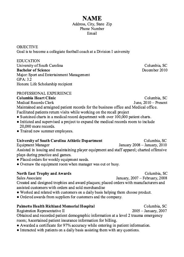 Example Of Football Coach Resume