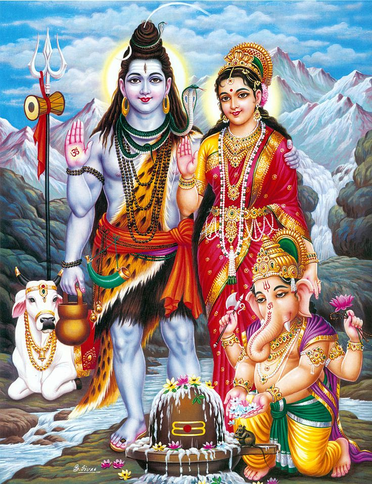 Shiva, Parvati and Ganesha with Nandi (via Dolls of India)