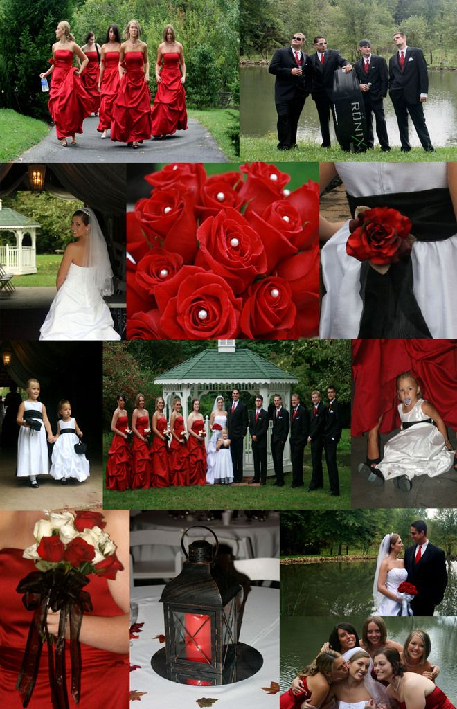 Red and Black outdoor fall wedding. Wedding Photography by Boone Studios.