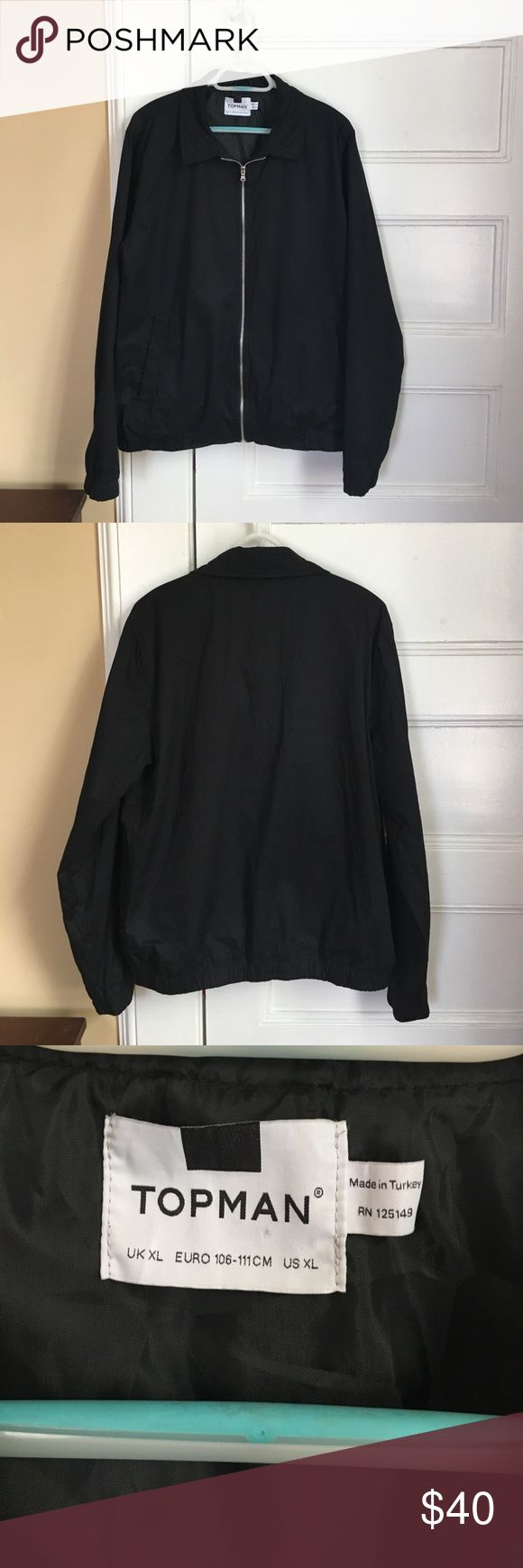 "Topman black Harrington jacket XL EUC Topman black Harrington jacket, zip close, welt pockets, fully lined, elasticized cuffs and hem. 27"" long. Size XL, no stains or other flaws. Excellent condition. Topman Jackets & Coats Lightweight & Shirt Jackets"