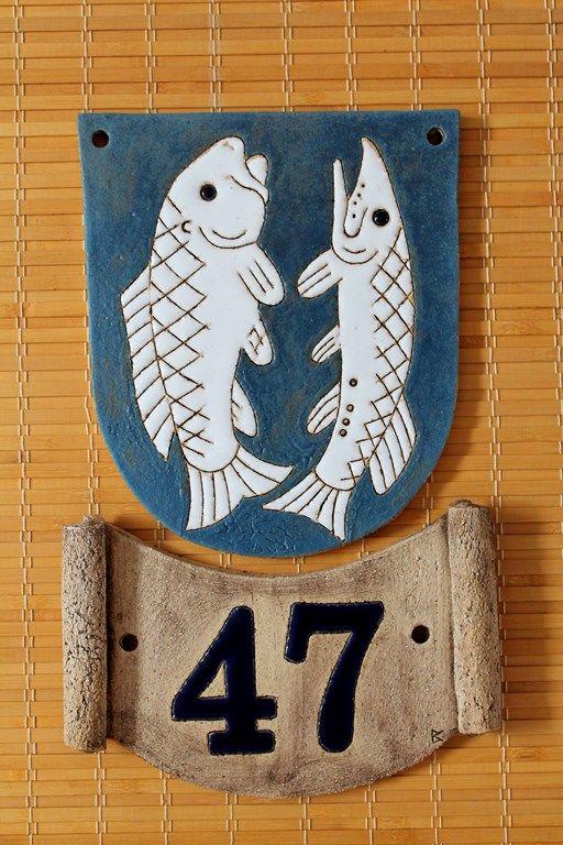 Domovní číslo popisné z keramiky: znak města Litovle. Zakázková výroba motivů na přání - Keramika pro domov (www.keramika-dum.cz). House number