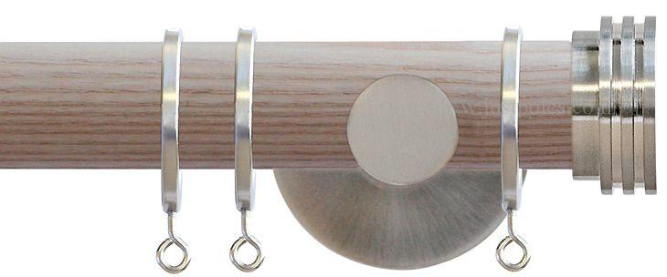 Jones Strand 35mm Wood Curtain Pole Natural, Matt Nickel Ribbed Stopper