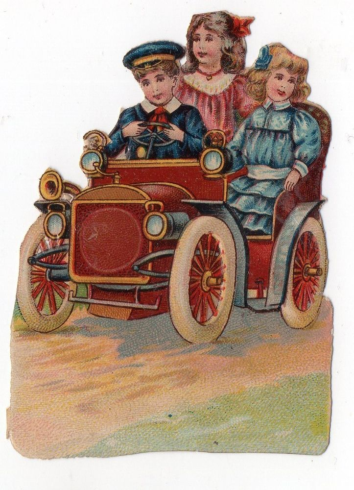 Chromo découpi oblaten glanzbild victorian die cut scrap Enfants voiture 8.5cm