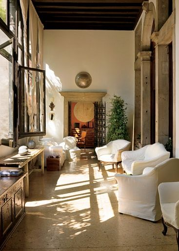 Axel Vervoordt for Architectural Digest...Summer Slipcovers...he is an amazing designer.