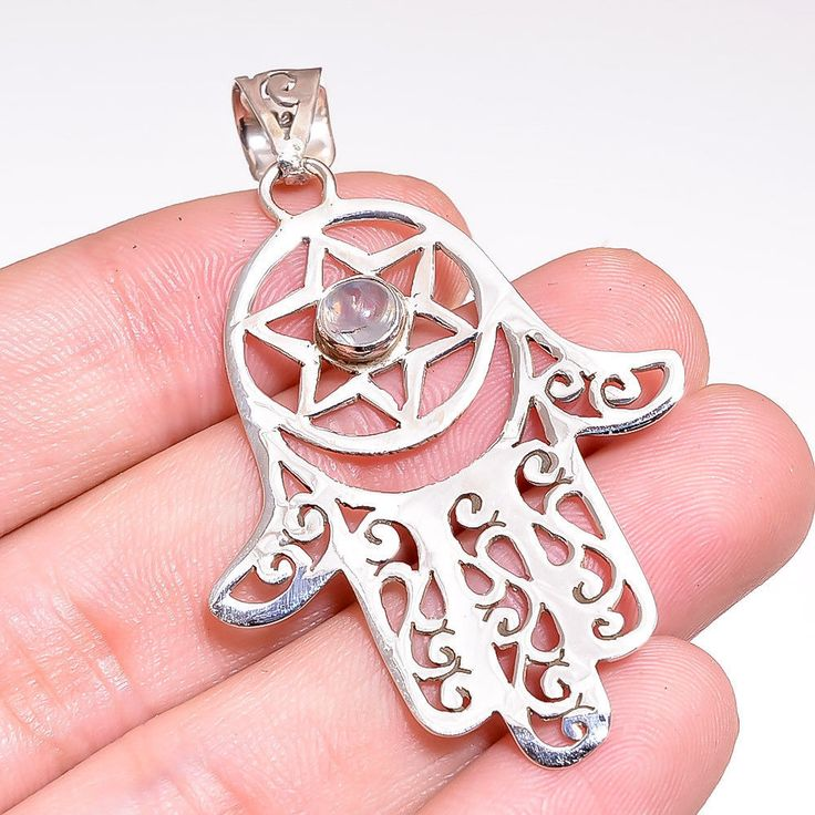 Moonstone Pendant 925 Sterling Silver Fine Hamsa Chakra Design Silver Pendant #Unbranded