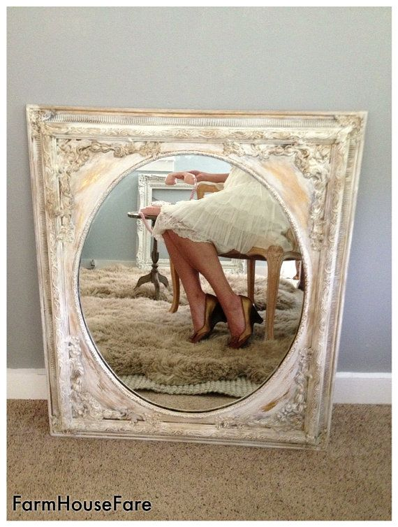 SHABBY CHIC Chalk Paint Mirrors Large White By FarmHouseFare 32800