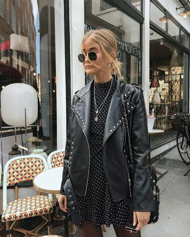 love the biker jacket with a feminine polka dot dress