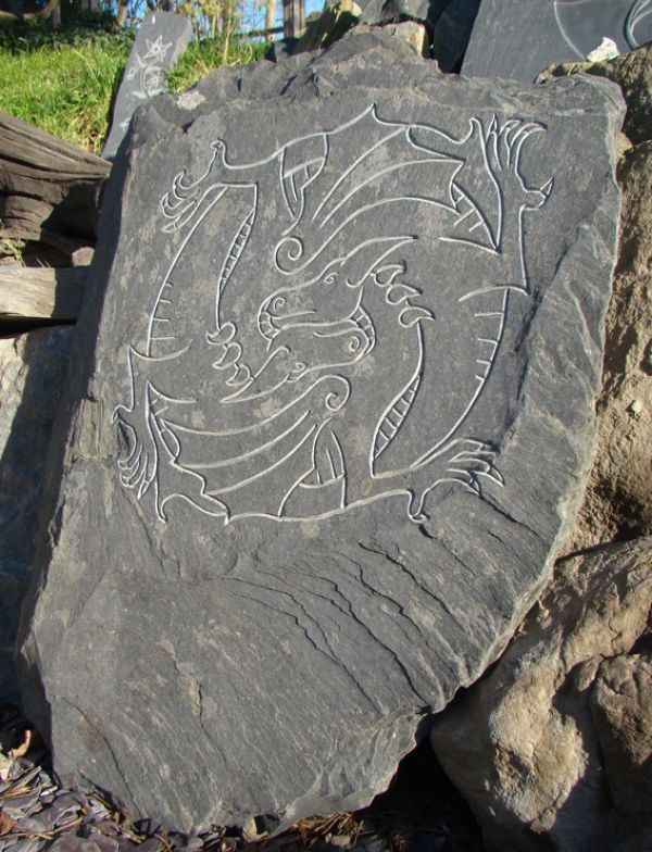 Hand Carved Aberllefenni Slate Welsh Wall Mounted Or Hanging Sculpture By Artist Jon Evans Led Dinas Emrys Slat
