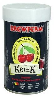 Brewferm Kriek 12 l    Kriek este cea mai faimoasa bere belgiana cu fructe.Kriek este produsa din macerarea cireselor in bere.  Cu o culoare rosie minunata, aceasta bere are un gust usor acid,cu note de dulce.Fiecare kit contine suc pur de  la cel putin 3 kg de cirese!    Ingrediente:  Extras de malt cu hamei  Drojdie speciala Brewferm  Suc de cirese     Greutate kit - 1.5 kg  Pentru 12 litri de bere  ABV - aprox.5.5%