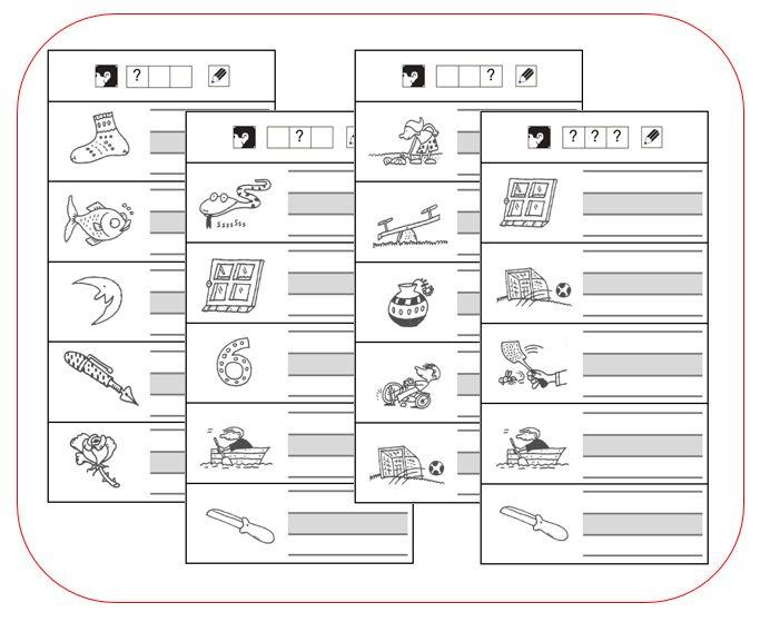 Deze kaarten oefenen zowel op het uitluisteren als het schrijven van letters. De opdracht staat steeds bovenaan en wordt weergegeven met de pictogrammen van VLL. De leerlingen zouden de opdracht du...