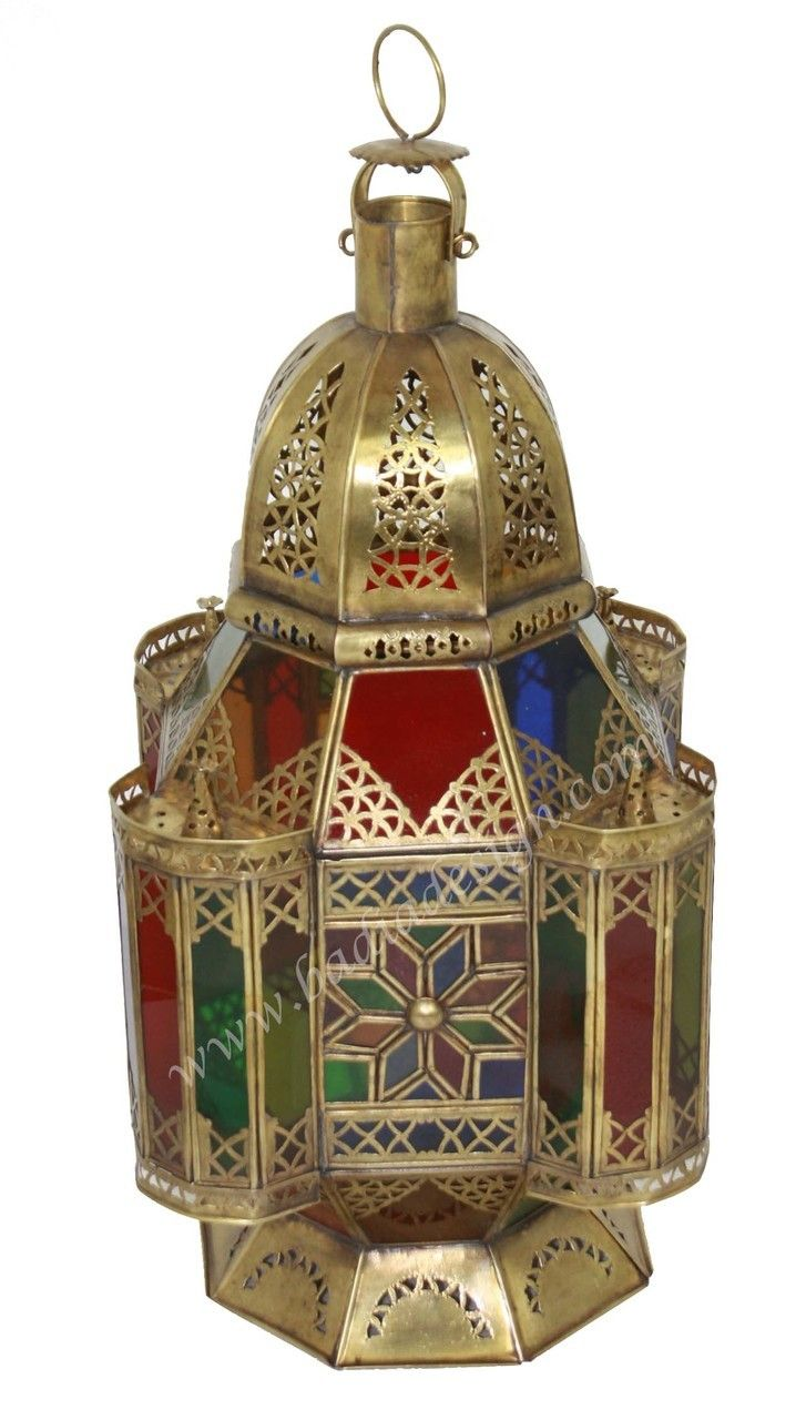 Brass Floor Lantern with Multi Color Glass - LIG297, Moroccan brass lantern, brass lighting, floor lantern,  (http://www.badiadesign.com/moroccan-brass-floor-lantern-with-multi-color-glass-lig297/)
