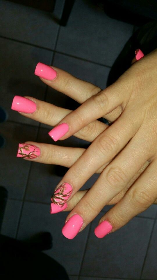 Realtree Pink Camouflage inspired nail art on acrylic nails