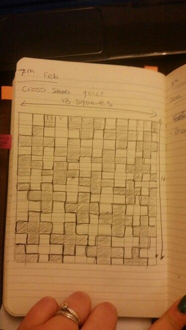 My drawn plan for my cross quilt