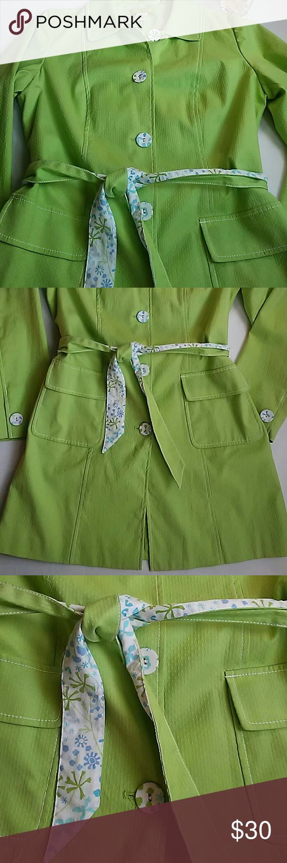 """Sigrid Olsen Jacket/Trench Coat M Lime Green Designer Trench Coat. Size Medium. White floral pattern accents. Excellent. Pre-owned condition. Material: 97% cotton, 3% spandex. Measurements: length 34 2/4"""", width 21"""", sleeve length 17"""". Sigrid Olsen Jackets & Coats Trench Coats"""