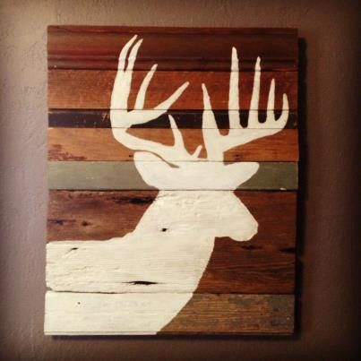 Deer Silhouette Painting on Rustic Wood by DaniVPhotography, $60.00