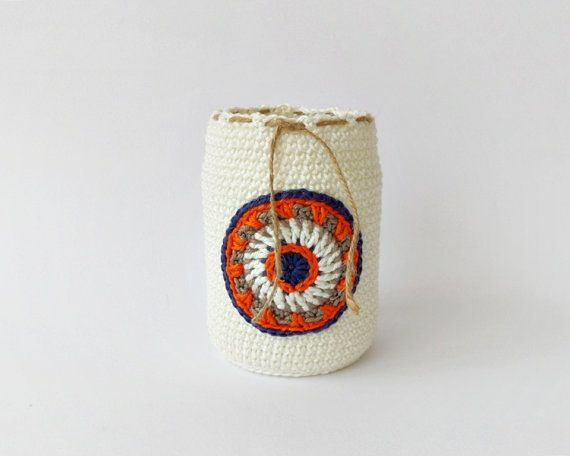 Ivory pen holder with blue orange brown crochet by DiaCrochets