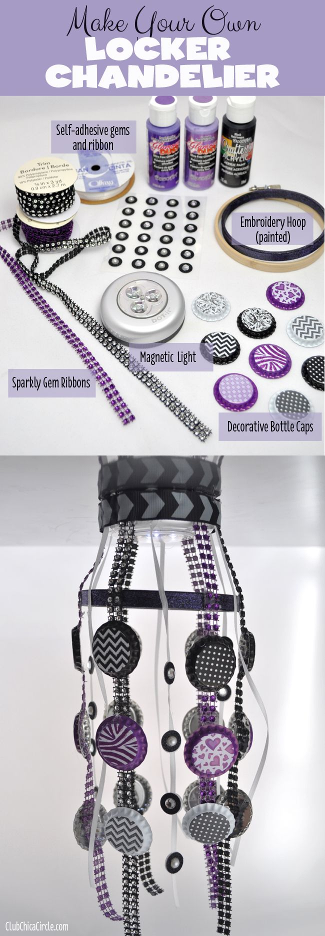 Tween Locker Craft Ideas  - make your own locker chandelier, magnetic bulletin board, and locker rug. So cute!