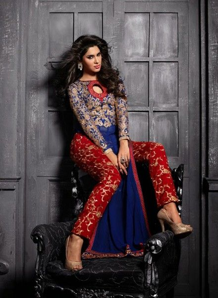 Designer Blue pant style designer punjabi suit for party wear A15575
