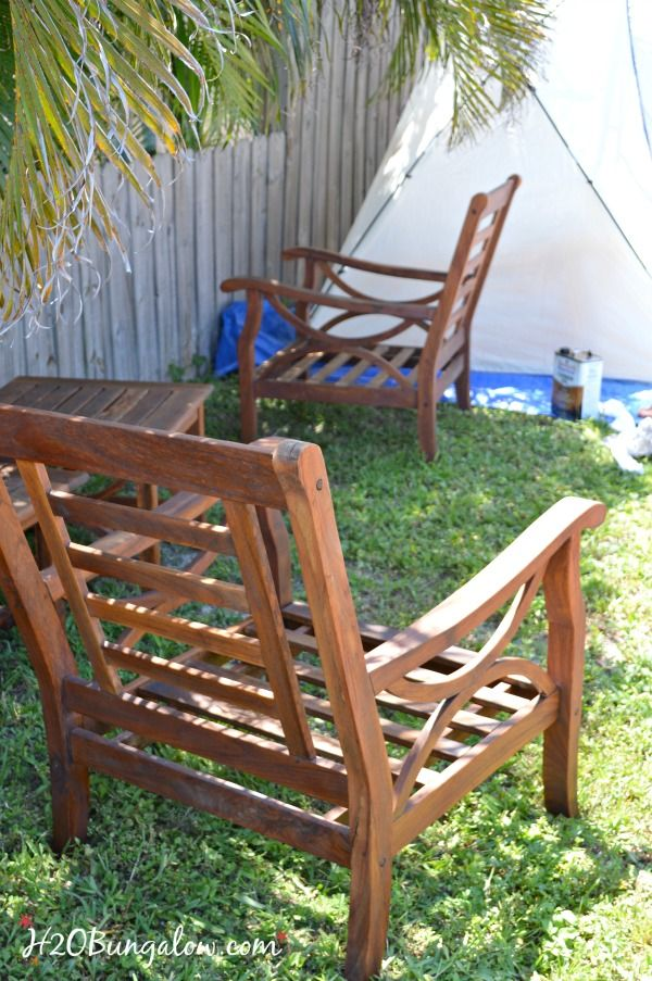 Restore Outdoor Teak Furniture Tutorial H2obungalow Outdoor Furniture Makeover Teak Outdoor Furniture Teak Outdoor