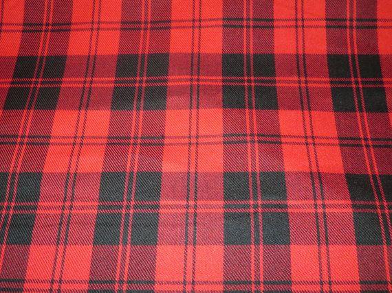 Menzies Red Tartan Fabric~By Yard Black Red Tartan Plaid Fabric~Kilt  Suiting Jacket Scarf~Highland Games Tartan Plaid Fabric