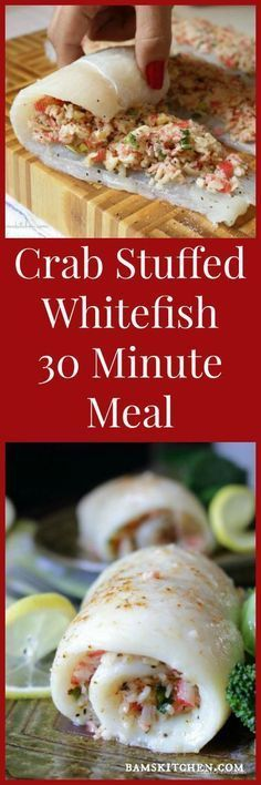 Crab Stuffed Whitefish / 30 Minute QUICK & EASY GOURMET MEAL/ GLUTEN-FREE, DAIRY FREE and DIABETIC FRIENDLY OPTIONS in the RECIPE/ LOW CARB/ http://bamskitchen.com